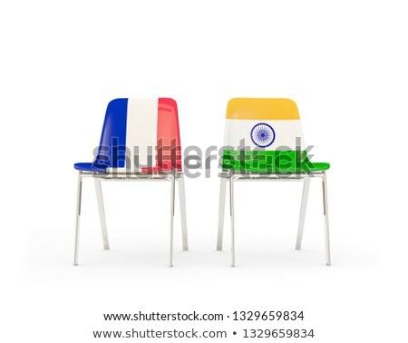 Iki sandalye bayraklar Hindistan Fransa yalıtılmış Stok fotoğraf © MikhailMishchenko
