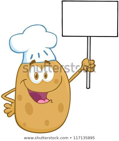 happy potato cartoon character holding up a blank sign stock photo © hittoon