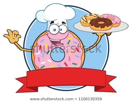 Chef Donut Cartoon Character With Sprinkles Circle Label. Stock photo © hittoon