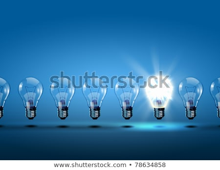 single light bulb illuminated in row stock photo © albund