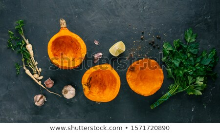 Halves of hokkaido pumpkin with spices Stock photo © furmanphoto