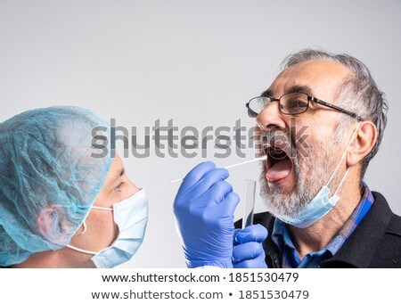 Throat swab for infectious disease influenza virus pandemic COVI Stock photo © lovleah