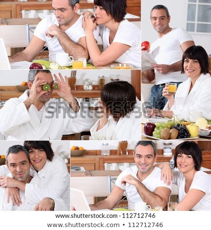 collage of a couple having breakfast stock photo © photography33