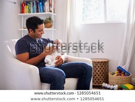 vader · fles · baby · home · vruchten - stockfoto © dolgachov