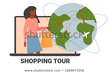 shopping woman making purchases with friend vector stock photo © robuart
