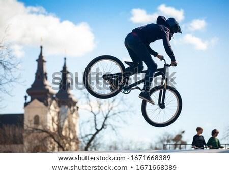 Cycliste équitation vélo rapide Photo stock © ra2studio