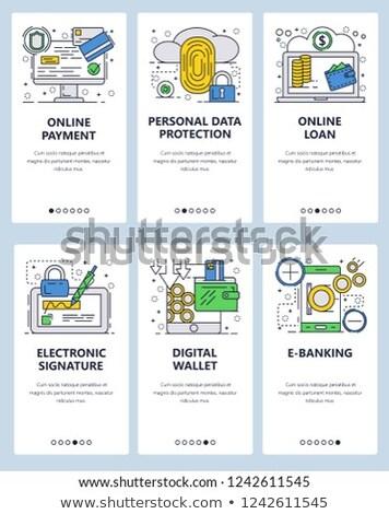 Elektronicznej podpis app interfejs szablon biznesmen Zdjęcia stock © RAStudio
