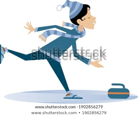 Smiling young woman plays curling isolated illustration Stock photo © tiKkraf69