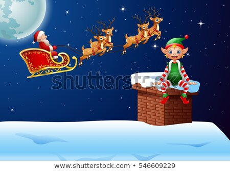 Blue Santa Claus,Reindeer And Elf Running In Christmas Night  Silhouettes.  Stock photo © hittoon