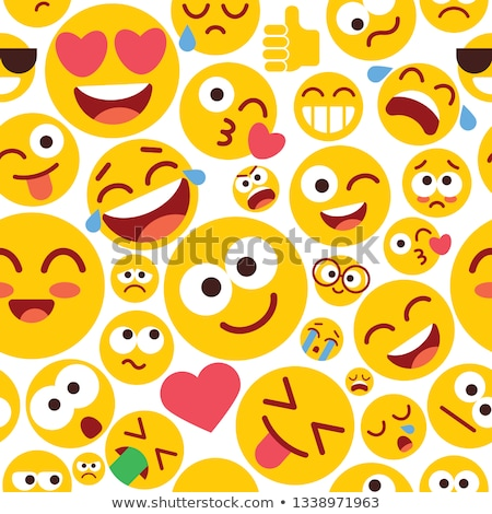 Pattern with smiling people heads. Smile heads, emoji seamless pattern Stock photo © vasilixa
