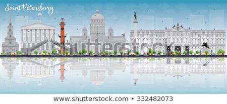 Saint Petersburg skyline with grey landmarks and copy space.  Stock photo © ShustrikS