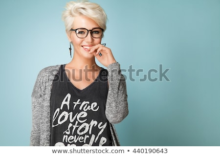Portrait of an attractive young blonde short haired woman Stock photo © deandrobot