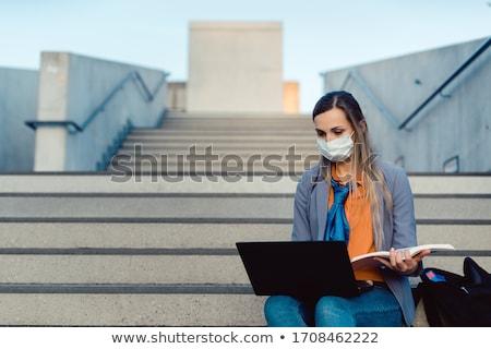 студент сидят пусто лестницы университета кампус Сток-фото © Kzenon