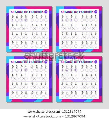 Mathematics educational game for children. Counting equations worksheet Stock photo © natali_brill