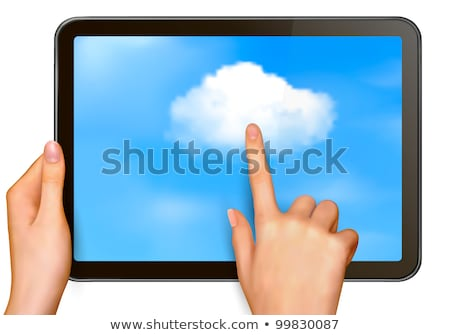 Stock photo: finger pointing modern touch screen tablet computer cloud