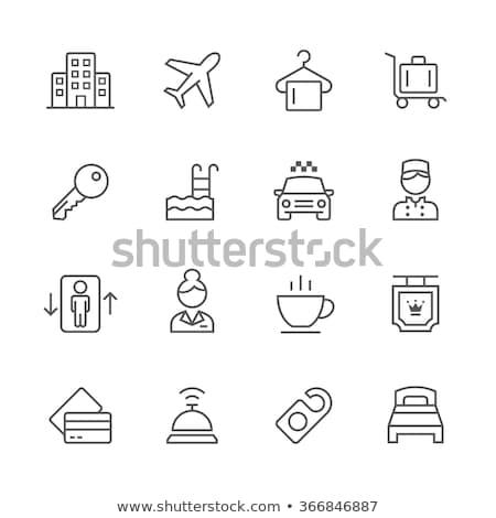 Hotel ikon szett ikonok kávé művészet szoba Stock fotó © cteconsulting