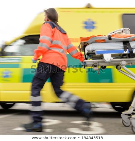 Ejecutando ambulancia coche icono clip art tableta Foto stock © zzve