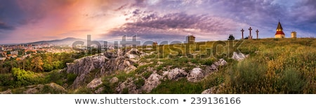 city of nitra in the morning as seen from calvary stock photo © kayco
