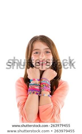 gumi · szőke · gyerek · lány · szív · alak · ujjak - stock fotó © lunamarina