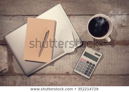 Foto stock: Mesa · de · madeira · palavra · negócio · escritório · escolas