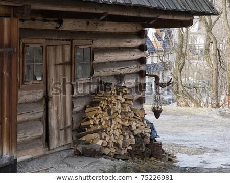 Traditional polish wooden hut from Zakopane Stock photo © wjarek