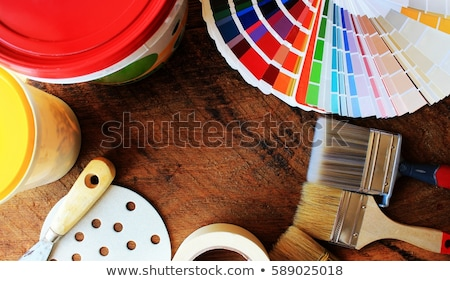 various painting tools and color palette on wooden background Stock photo © Virgin
