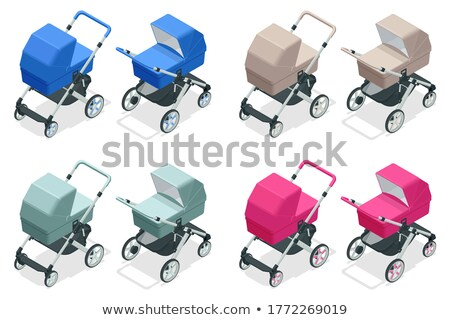 baby buggy isometric icon isolated on color background stock photo © sidmay