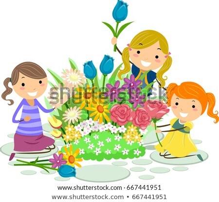 Stickman Kids Flowers Pick Girls Illustration Stock photo © lenm