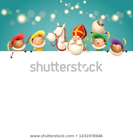Wesoły christmas plakat Święty mikołaj pomocnik tradycyjny Zdjęcia stock © robuart