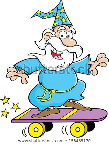 Cartoon wizard riding a skateboard Stock photo © bennerdesign