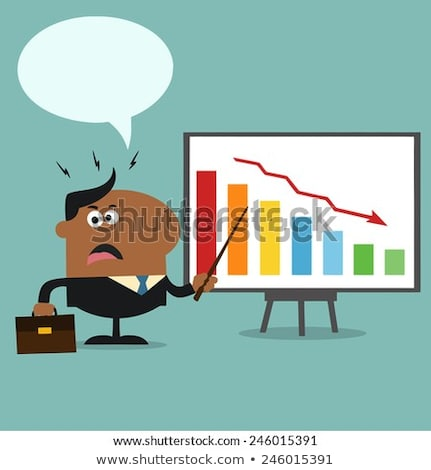 Angry African American Manager Pointing To A Decrease Chart On A Board. Stock photo © hittoon