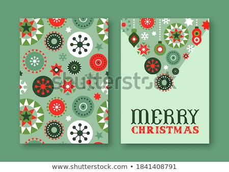 Christmas folk art vector pattern set, design collection with Christmas tree, flowers, hearts in red Stock photo © RedKoala