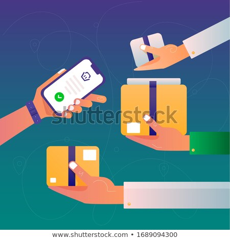 Hand holds the smartphone. Application with online shopping cart. Flat vector modern phone mock-up i Stock photo © karetniy