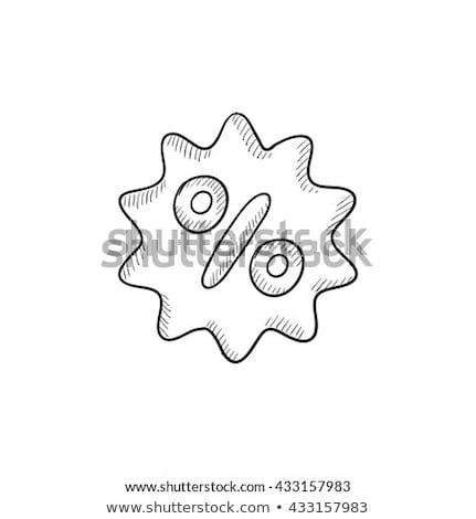 Hand percentage icon vector schets illustratie Stockfoto © pikepicture
