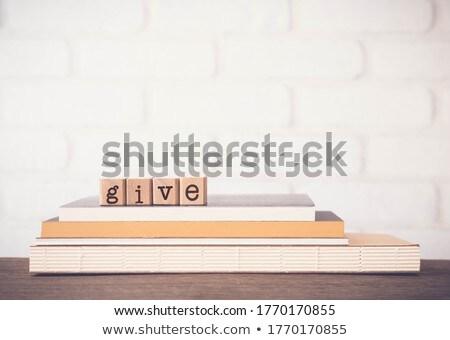 Woord schenken vintage houten rubber Stockfoto © vinnstock