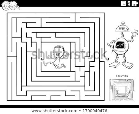 Doolhof spel jongen speelgoed robot kleurboek Stockfoto © izakowski