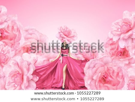 beautiful vibrant female in bridal gown with flowers stock photo © cboswell