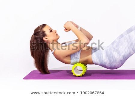 Caucasiano mulher relaxante ioga isolado estúdio Foto stock © dacasdo