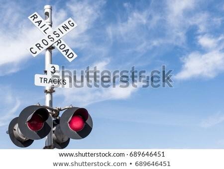 Mojave Desert Railroad Crossing Three Tracks Warning Lights Stock photo © cboswell