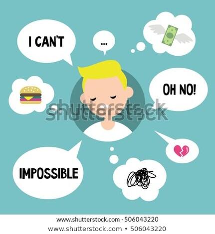 Cartoon несчастный мальчика мысли пузырь стороны человека Сток-фото © lineartestpilot
