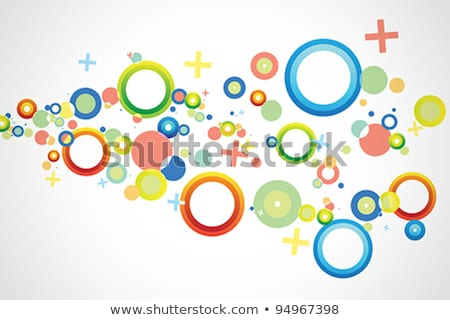 Сток-фото: аннотация · синий · желтый · зеленый · кольцами · векторные · иллюстрации