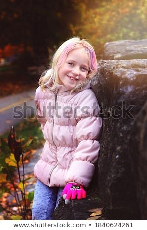 Lány dől kő erdő napos idő gyermek Stock fotó © wavebreak_media