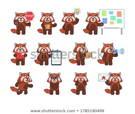Desenho animado vermelho panda corrida ilustração sorridente Foto stock © cthoman