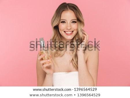 mooie · jonge · blond · zwarte · kleding · poseren - stockfoto © acidgrey