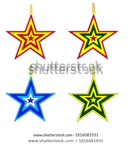 christmas toy in the form of a blue five pointed star isolated on white background vector illustrat stock photo © lady-luck