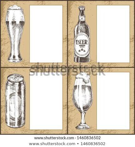 Beer Metal Can Hand Drawn Poster with Text Sample Stock photo © robuart