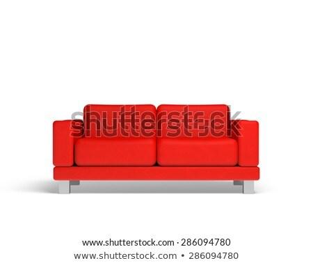 Rood sofa lege kamer 3D gerenderd interieur Stockfoto © Spectral