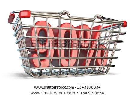 Steel shopping basket 90 PERCENT sign 3D Stock photo © djmilic
