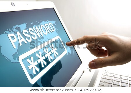 human fingers on the notebook screen and network authorization Stock photo © mizar_21984