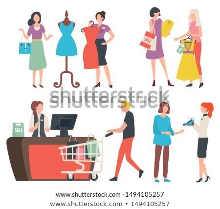 Femme magasin parler mode Shopping Photo stock © robuart